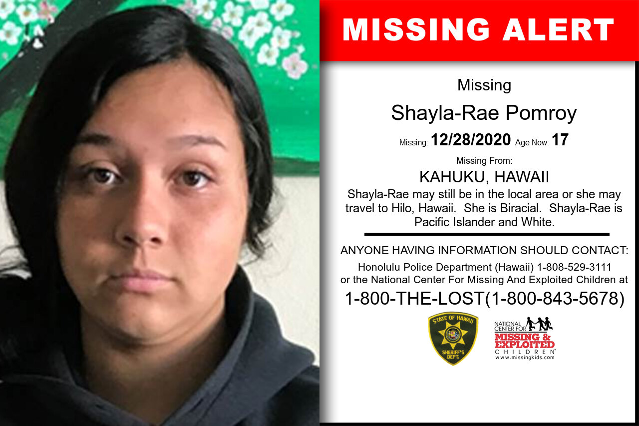 Shayla-Rae_Pomroy missing in Hawaii