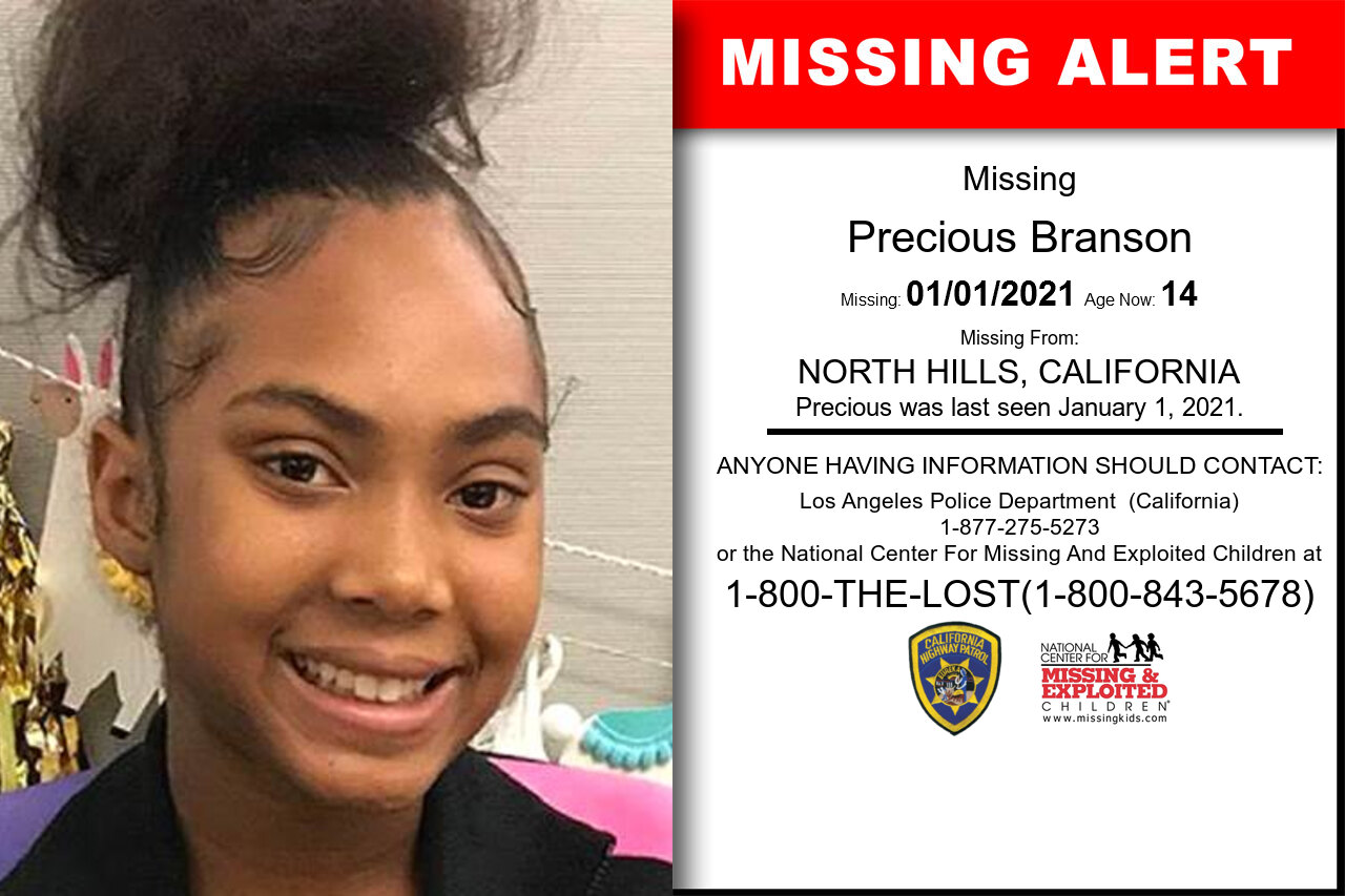 Precious_Branson missing in California