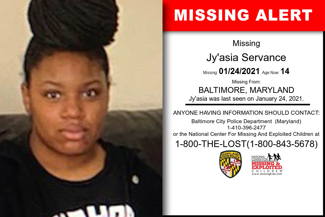 Jy'asia_Servance missing in Maryland