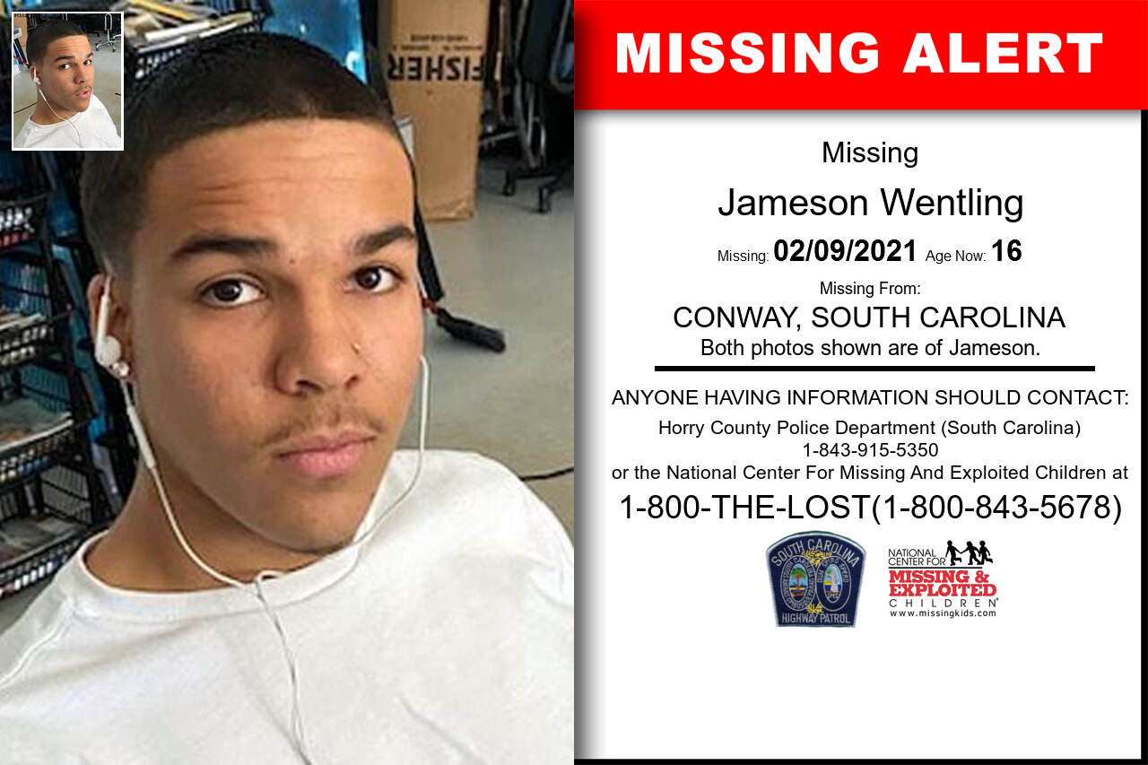 Jameson_Wentling missing in South_Carolina