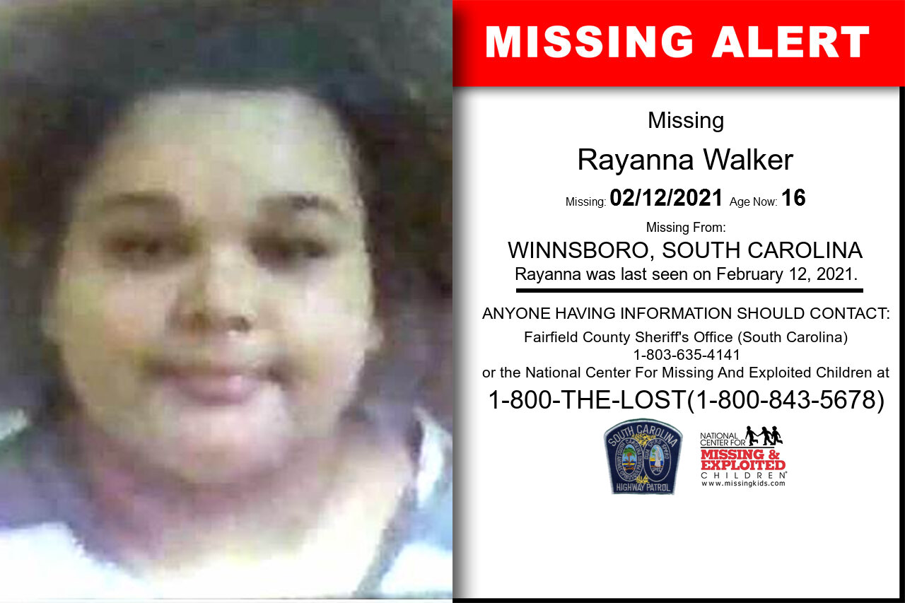 Rayanna_Walker missing in South_Carolina