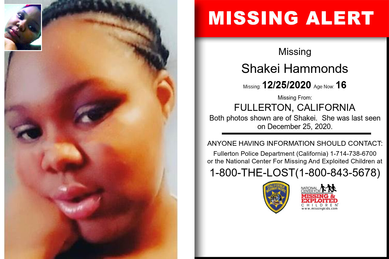 Shakei_Hammonds missing in California