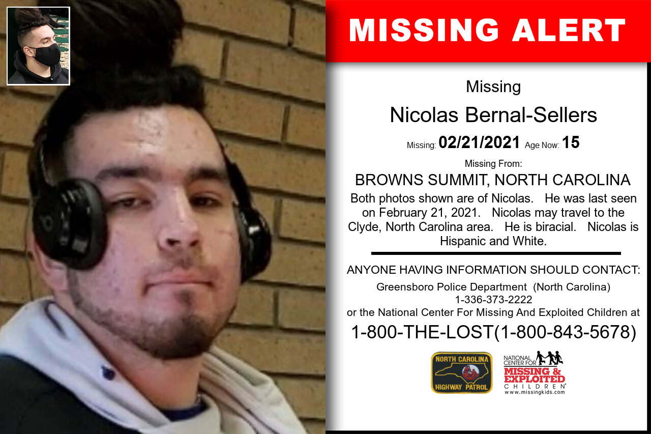 Nicolas_Bernal-Sellers missing in North_Carolina