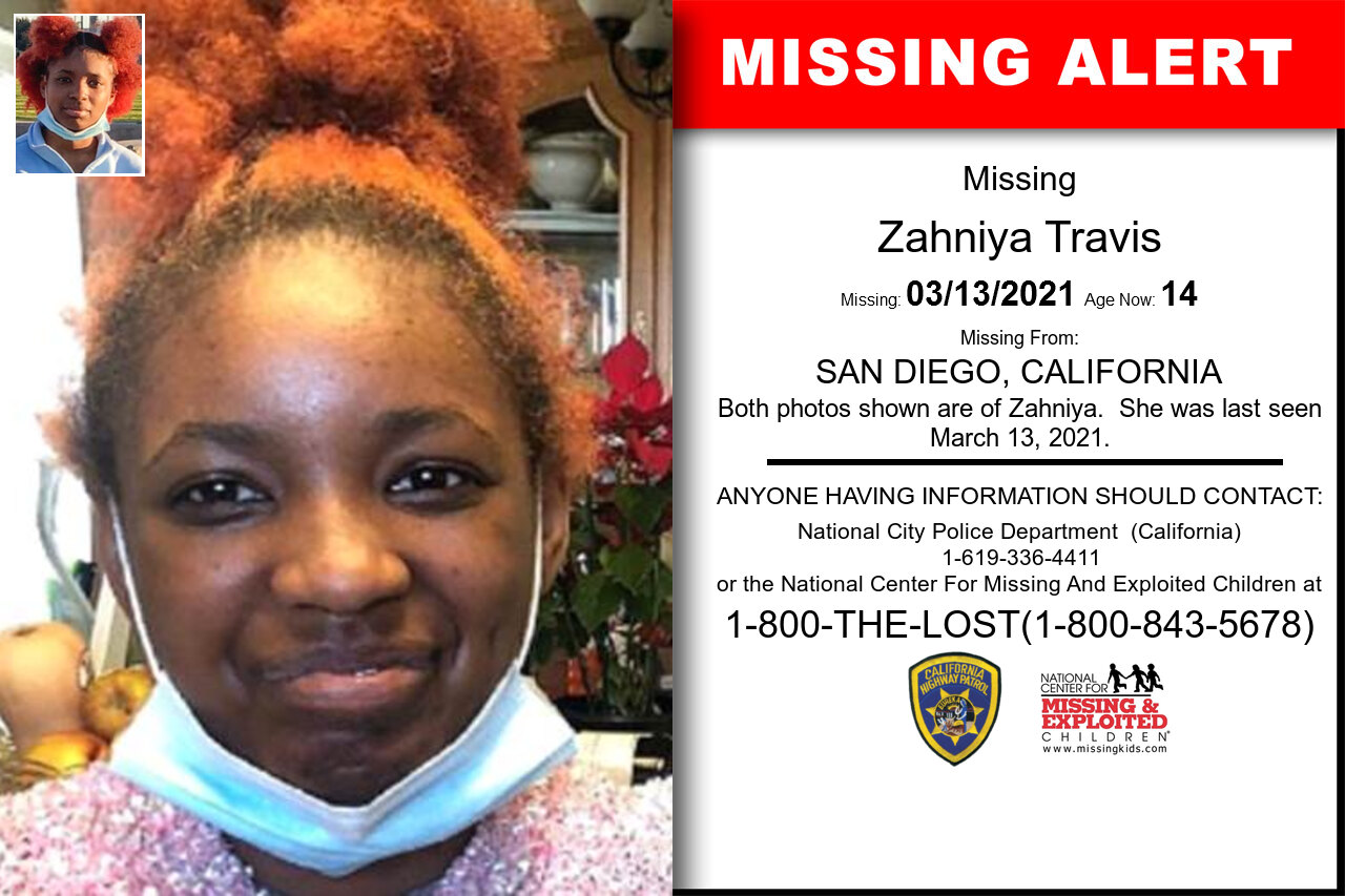 Zahniya_Travis missing in California