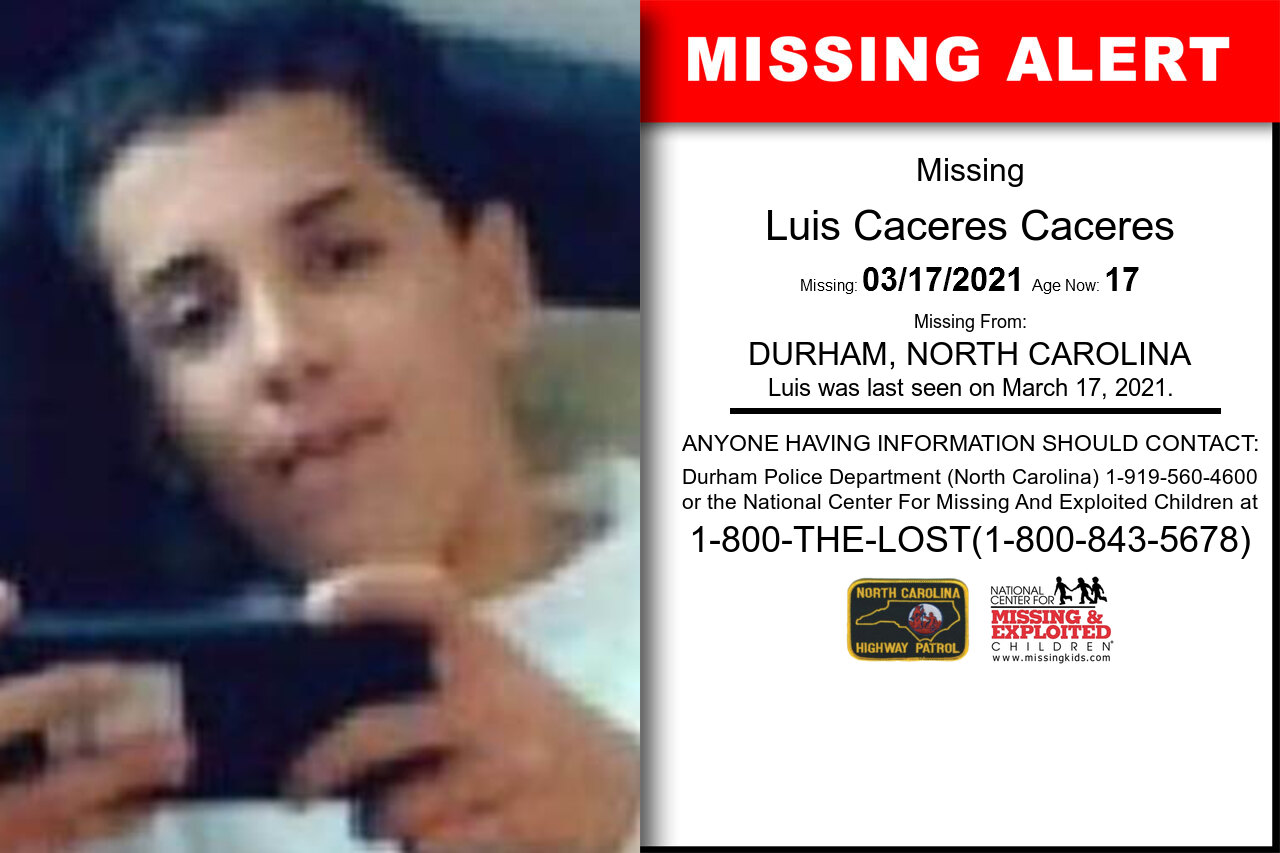Luis_Caceres_Caceres missing in North_Carolina