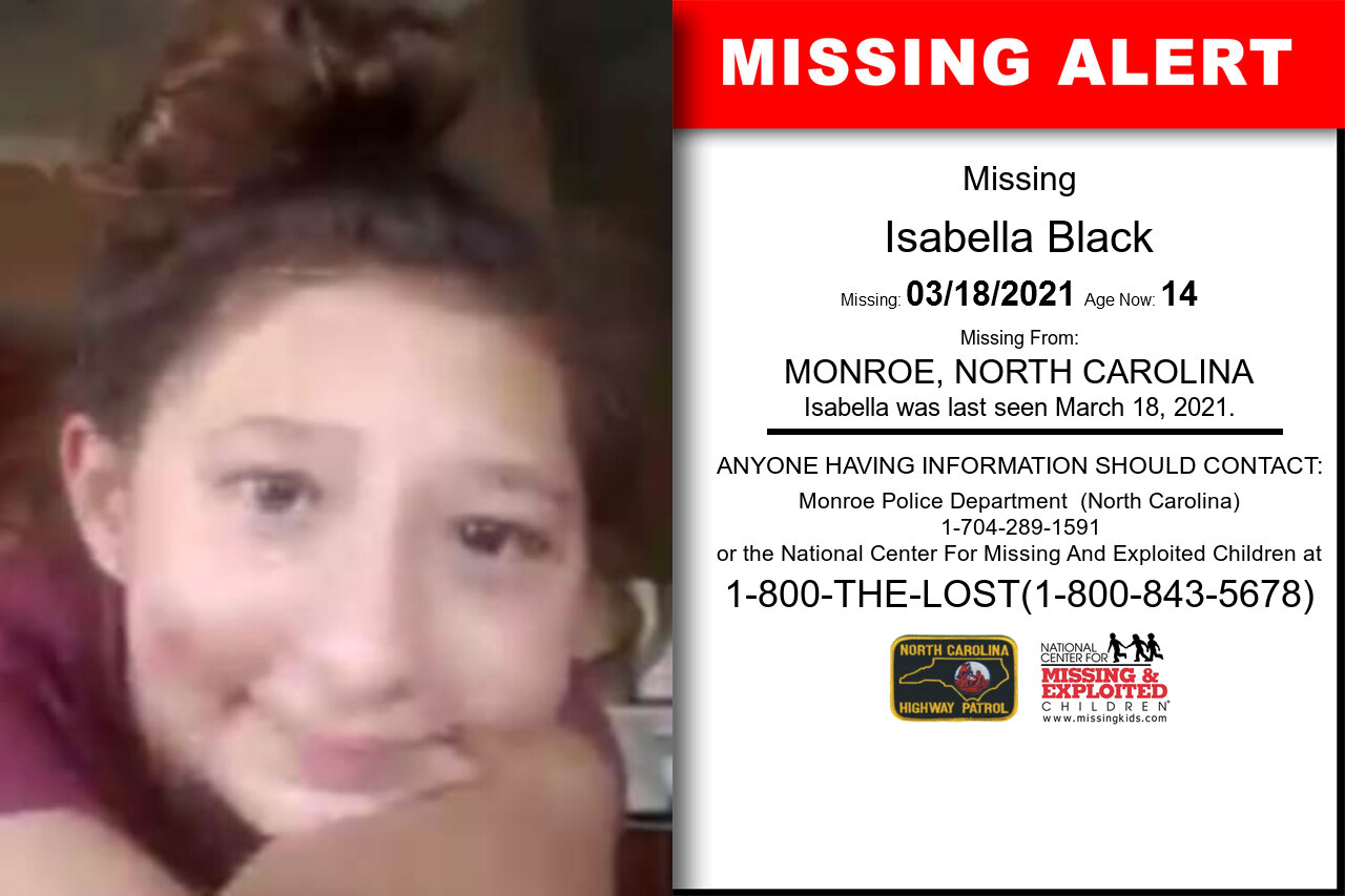 Isabella_Black missing in North_Carolina